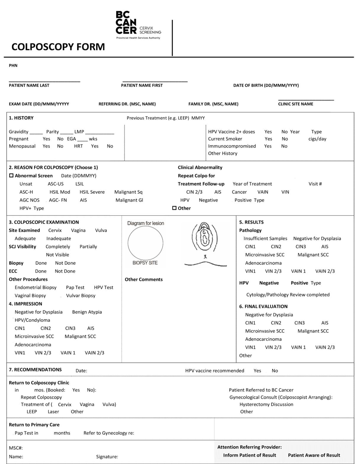 BCCA Colposcopy Encounter Form 2019