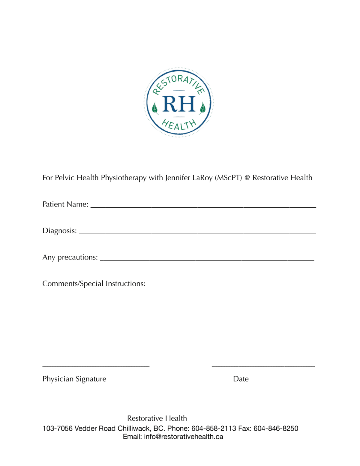 Restorative Health Pelvic Health Physiotherapy Referral eForm