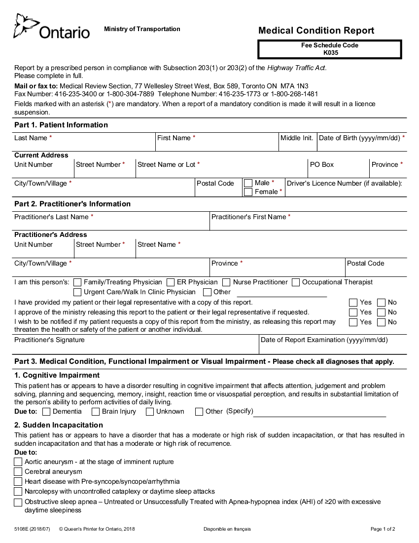 MOT medical condition reporting form (2018)