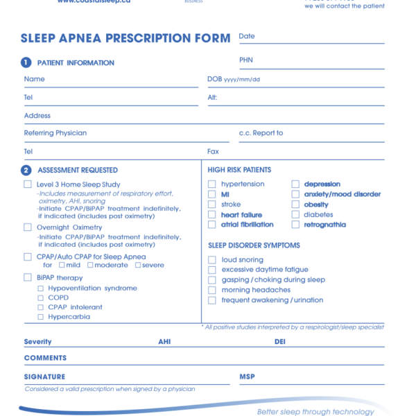 Coastal Sleep Vancouver Island Sleep Apnea Referral eForm 2019