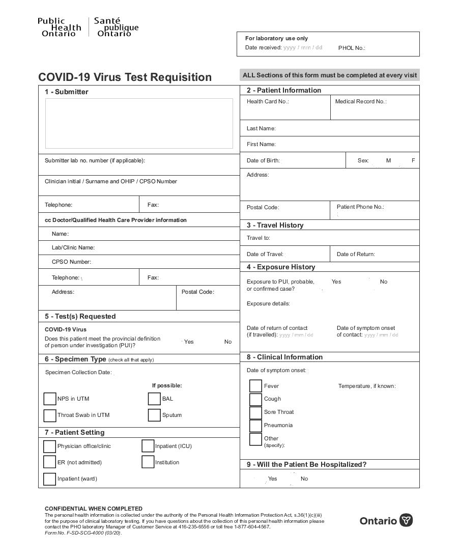Public Health Ontario COVID-19 Virus Test Requisition