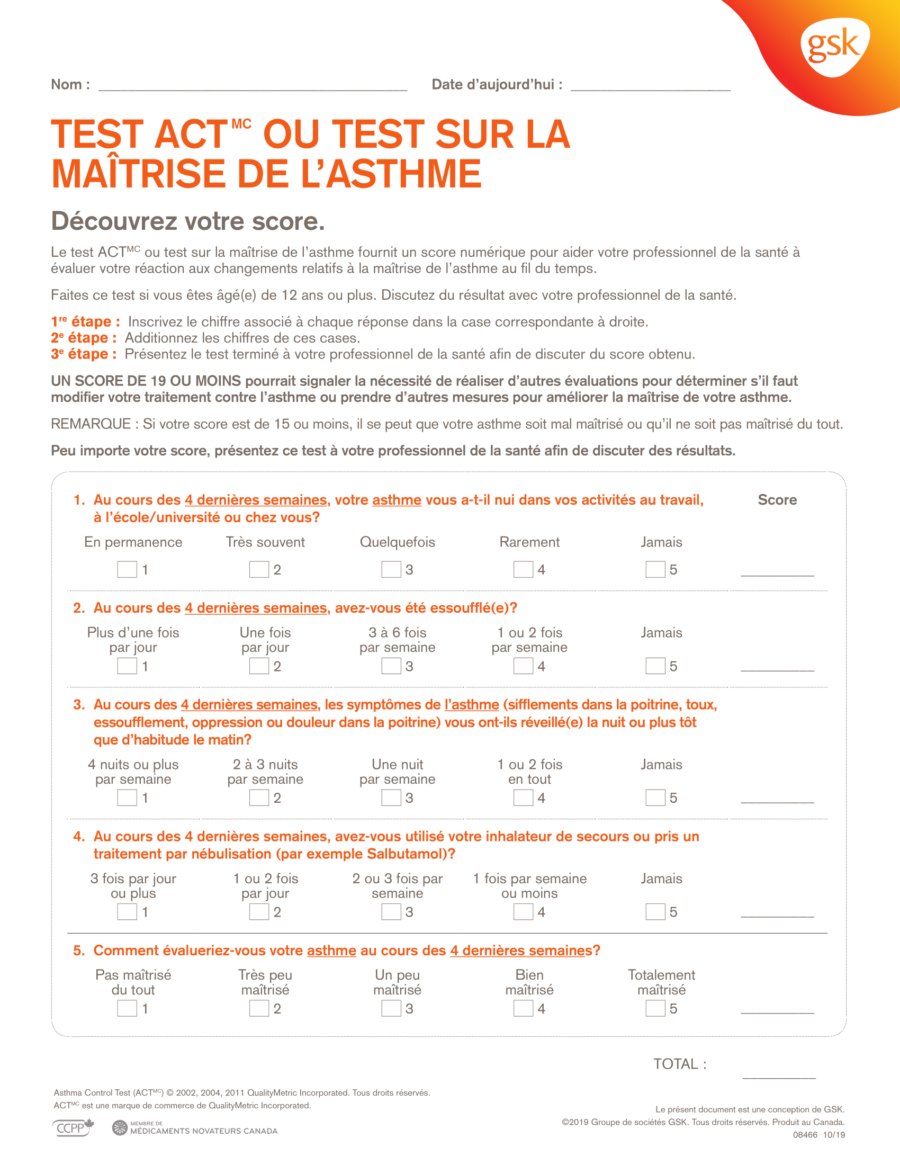 Asthma Control Test Score Sheet - French
