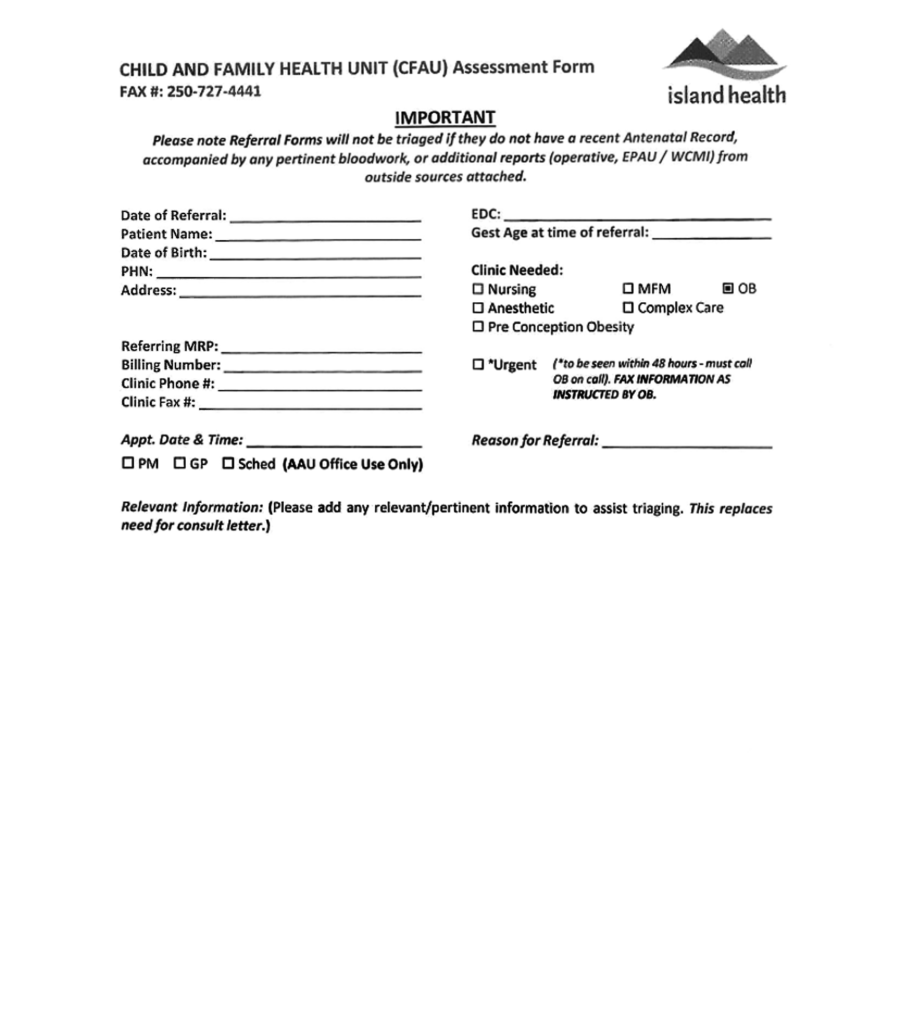Island Health - Child and Family Health Unit Assessment Form 2018