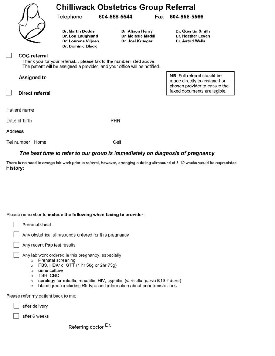 Chilliwack Obstetrics Group (COGs) referral 2019