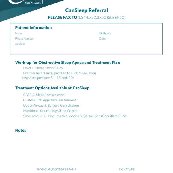 CanSleep 2019 Referral eForm