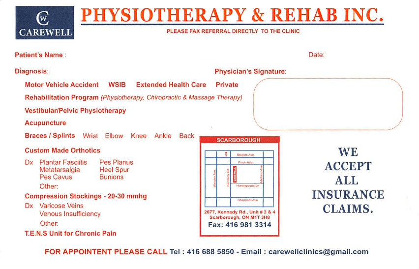 Carewell Physiotherapy and Rehab eForm