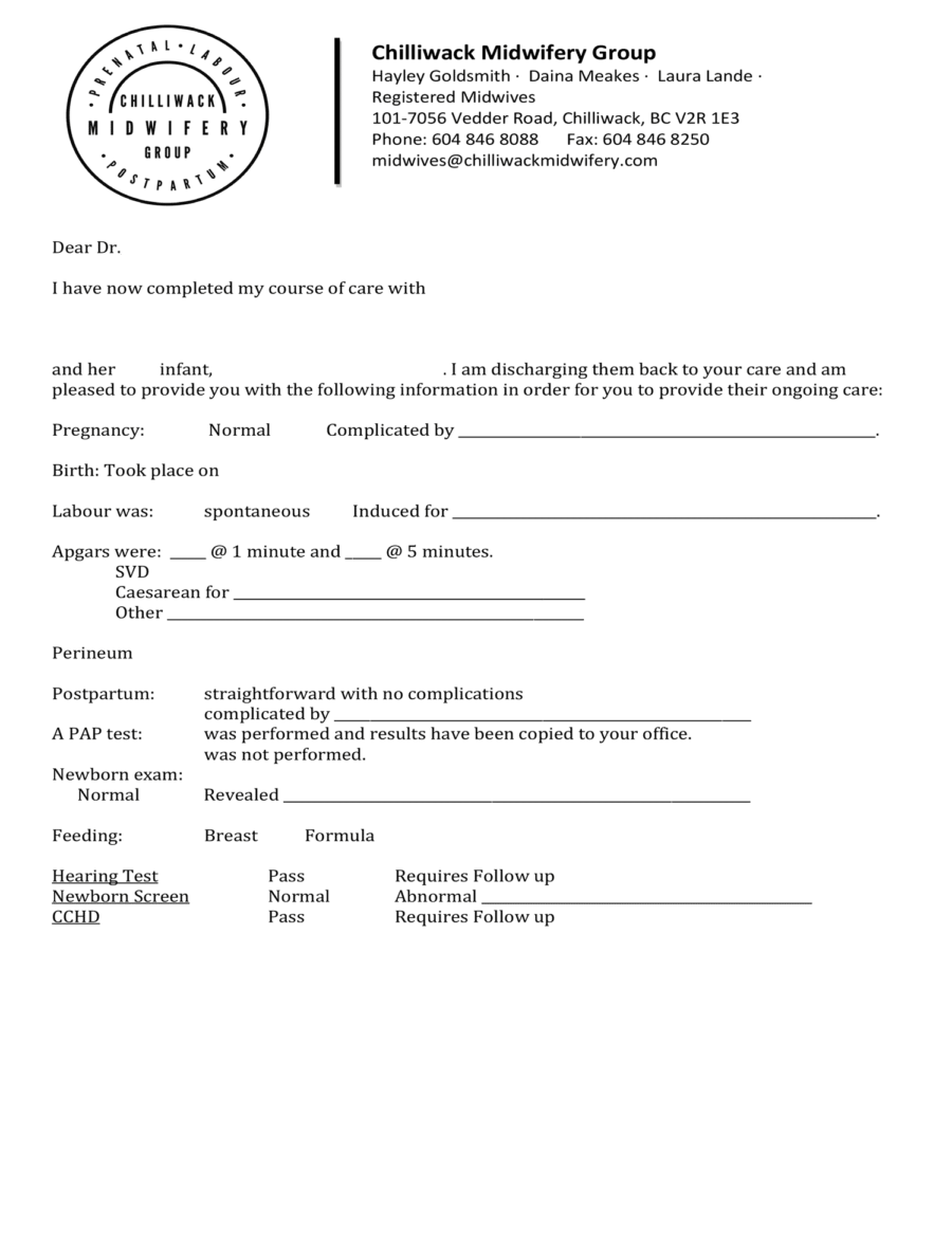 Chilliwack Midwifery Group Discharge letter 2019