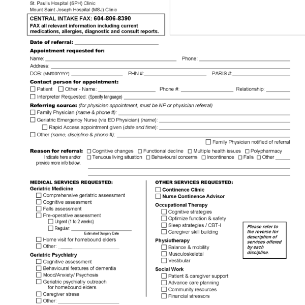 PHC Geriatric Clinic Referral eForm