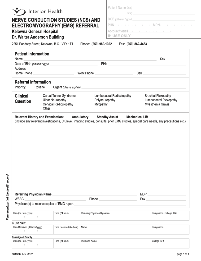 Interior Health Authority NCS and EMG referral eForm