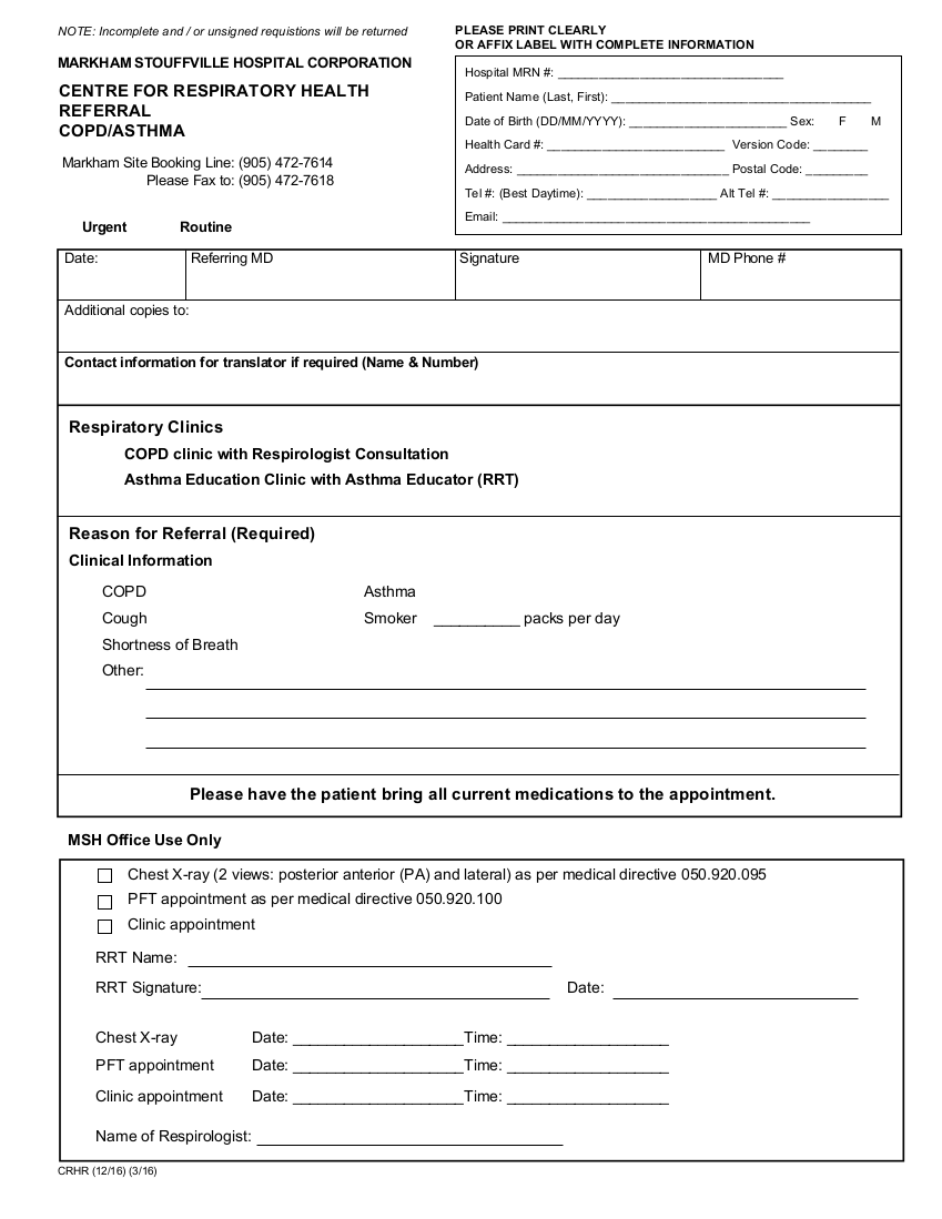 COPD Asthma referral form for Markham Stouffville Hospital