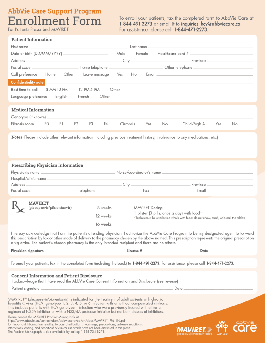 Maviret Patient Enrollment Form 2019