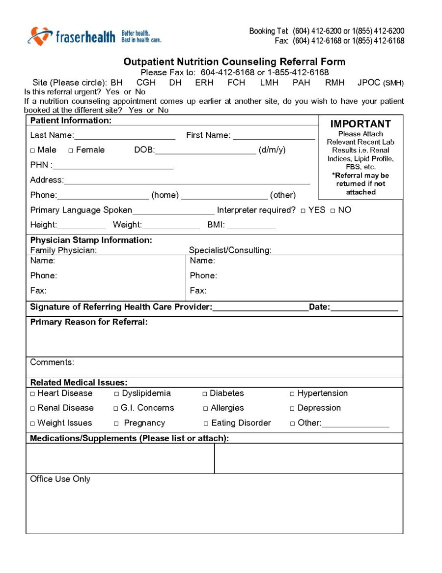 Fraser Health Outpatient Nutrition Counseling Referral Form