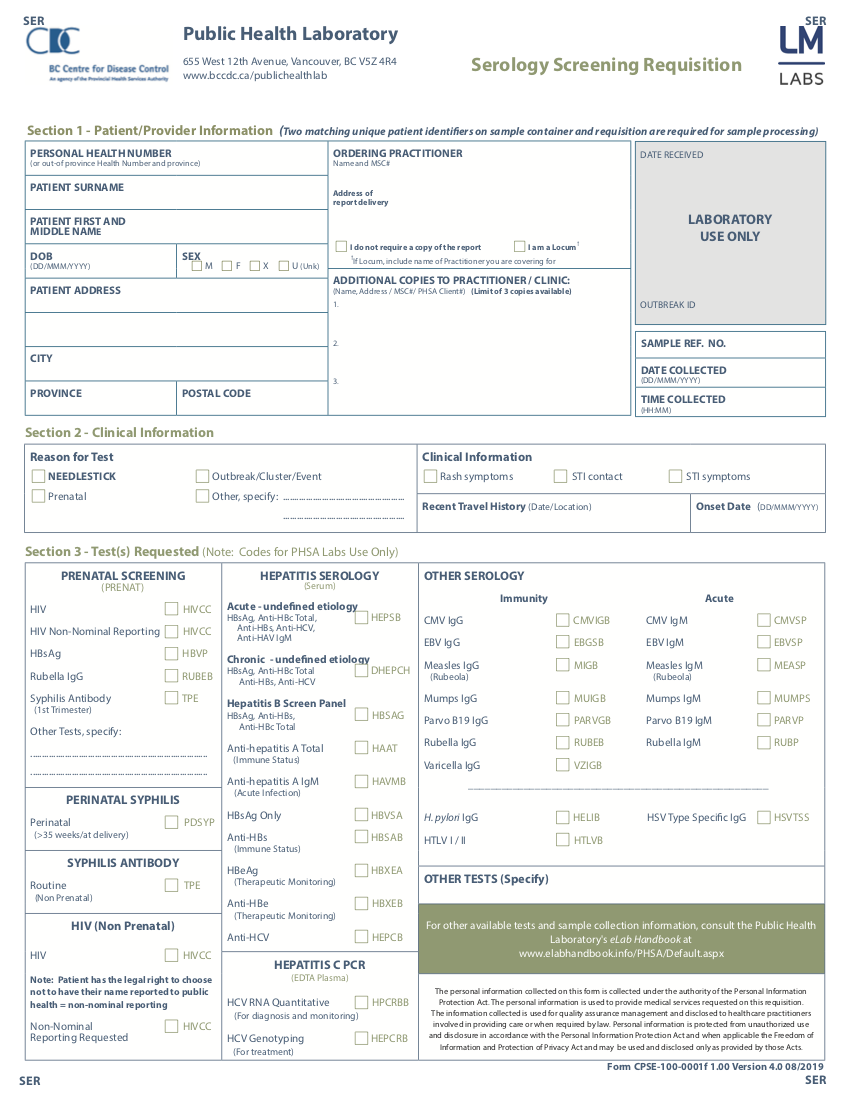 BC Centre for Disease Control Serology Form updated 2019