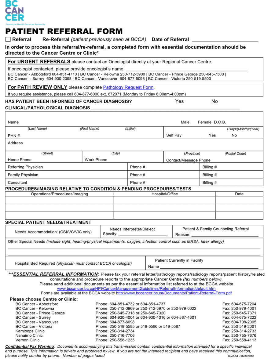BCCA patient referral eForm 2018