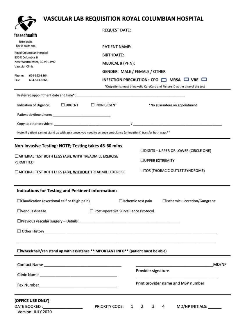 FHA RCH Vascular Lab Requisition - January 2021