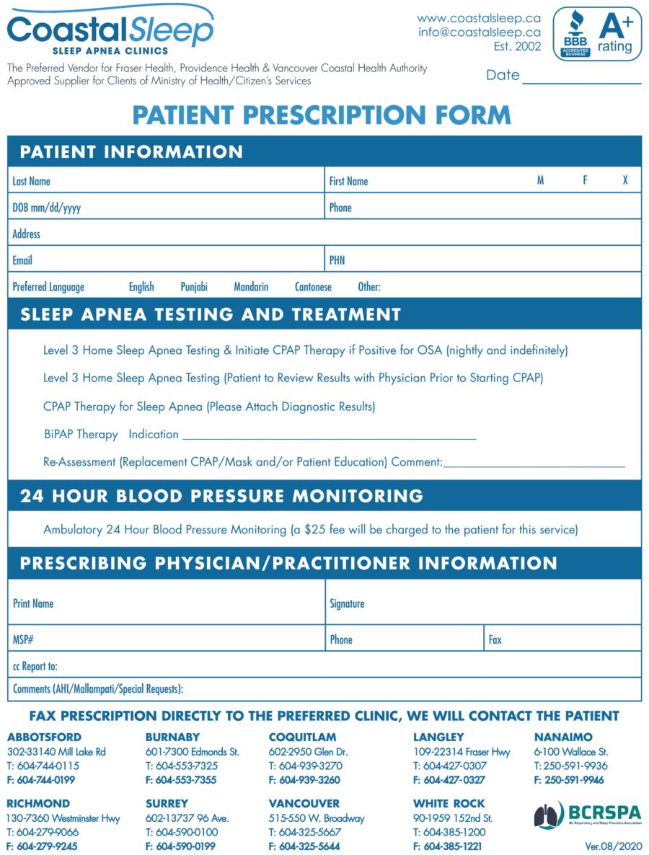 Coastal Sleep referral eForm 2020