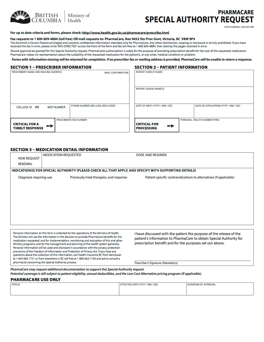 Generic Special Authority Form for BC February 2019