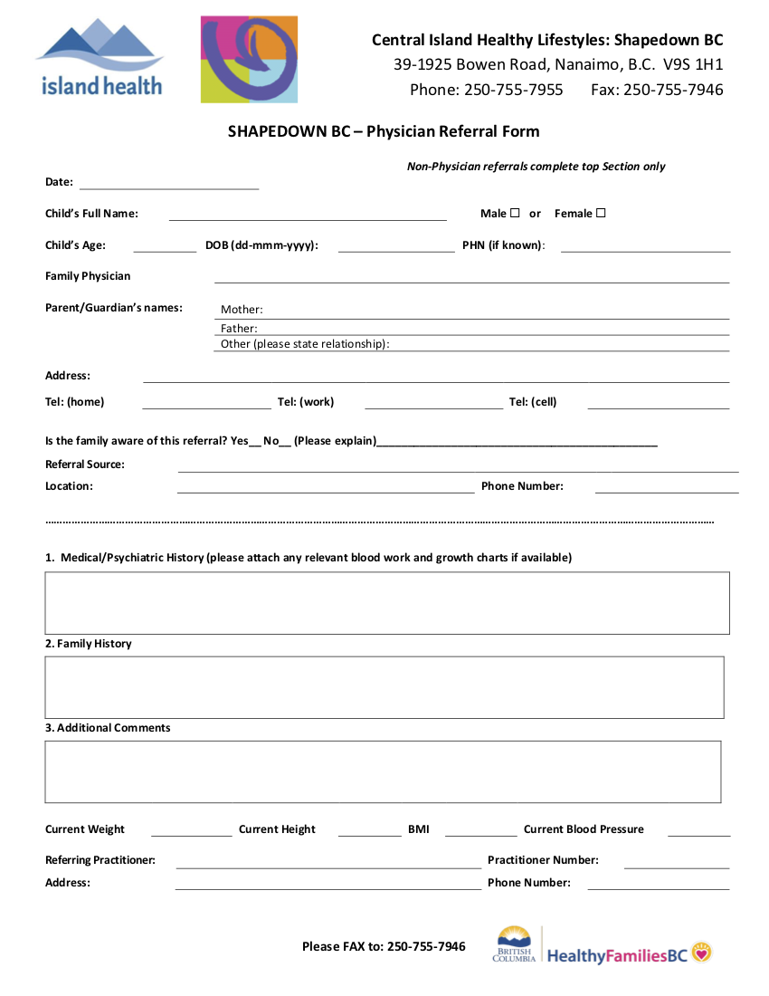 VIHA Shapedown BC - BC Physician Referral eForm 2018