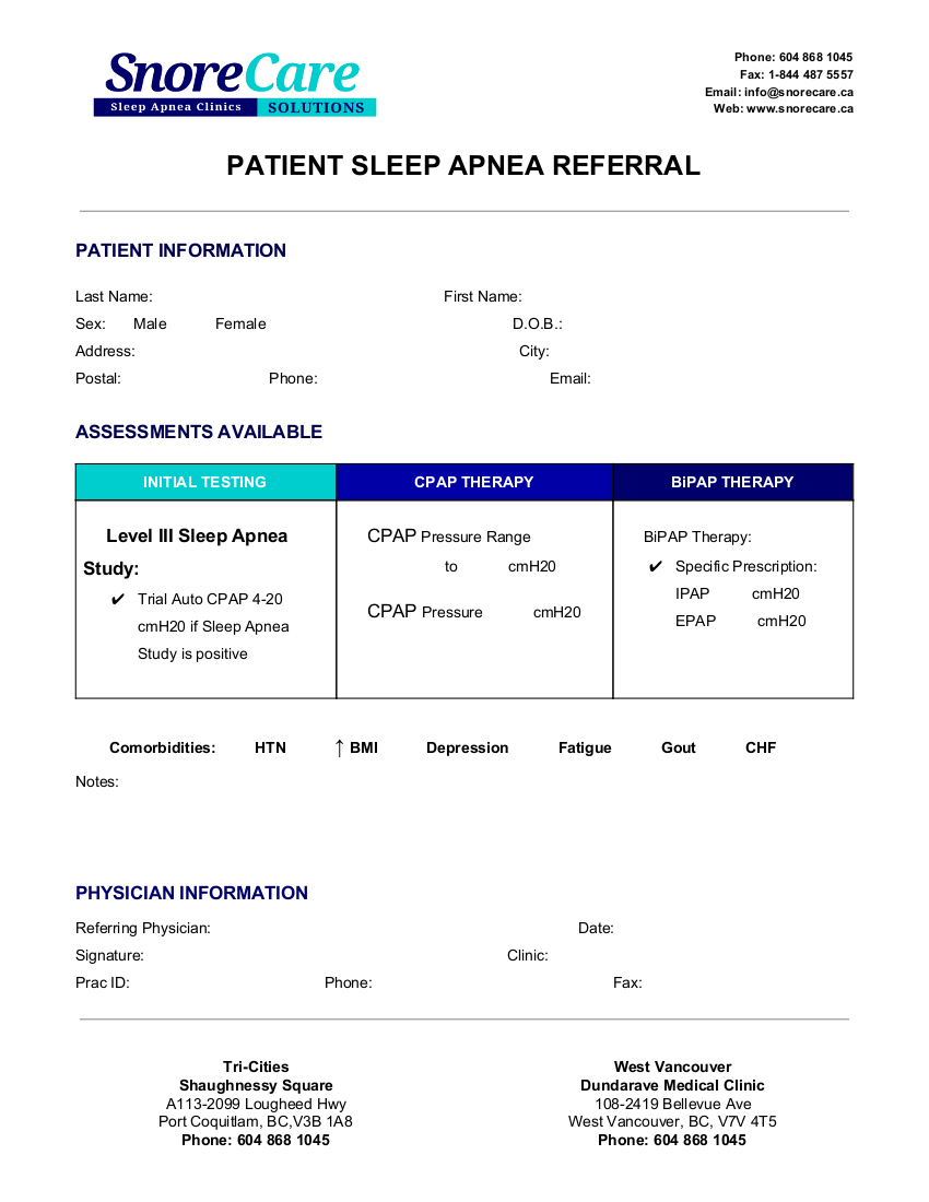 Snore Care Patient Sleep Apnea Referral 2019