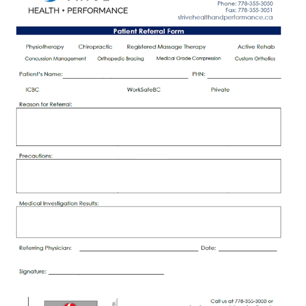 Strive Health and Performance Rehab eForm 2020