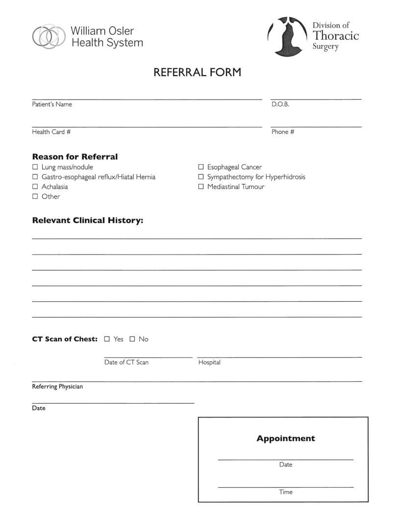 William Osler Health System ( WOHS ) Division of Thoracic Surgery Referral eForm