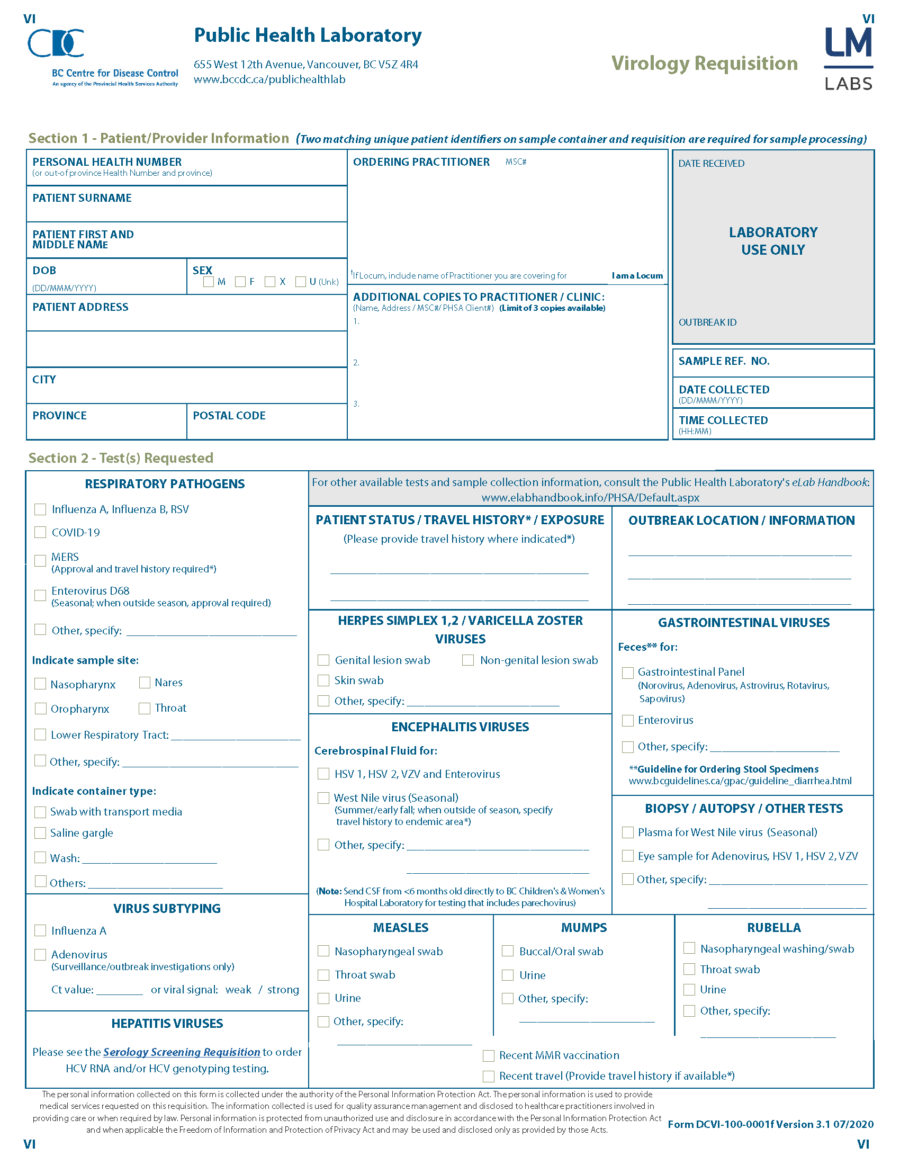 BC CDC Virology Requisition