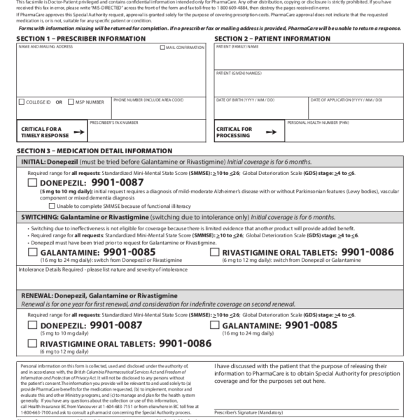 Updated 2018 donepezil special authority form