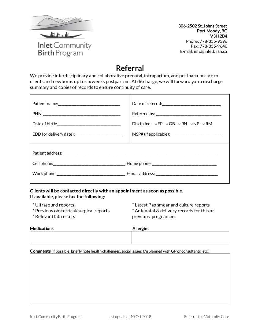 Inlet Community Birth Program Referral eForm 2018
