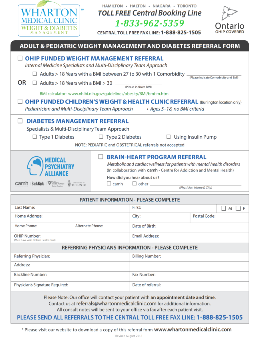 Wharton Medical Clinic Weight and Diabetes Management  eForm